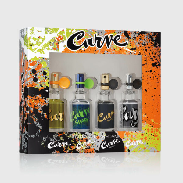 Curve Mens Cologne 4Pc Spray Coffret Gift Set 0.5 Fl Oz Angled