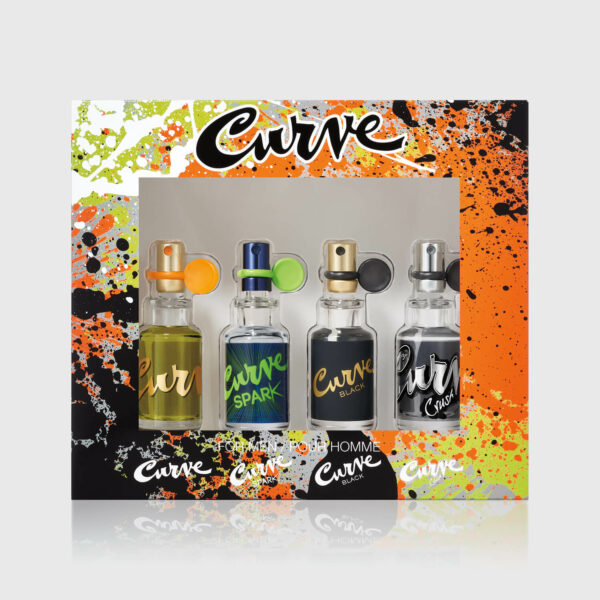 Curve Mens Cologne 4Pc Spray Coffret Gift Set 0.5 Fl Oz Straight